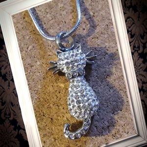 Jewelry - Rhinestone cat cremation urn necklace